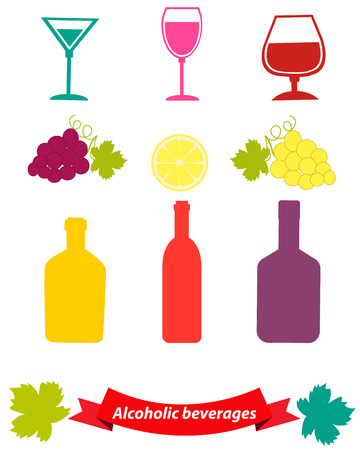 bebidas alcoh�licas: Conjunto de bebidas alcoh�licas con uvas y una copa