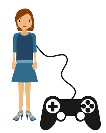controlled: Perfect woman. Person controlled by a game controller. Vector illustration