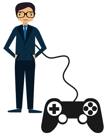 controlled: Perfect Man. Person controlled by a game controller. Vector illustration