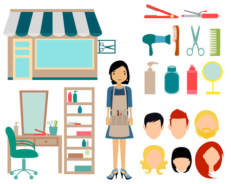 hair spray: Set barbershop. Building, interior and equipment icons. Vector illustration