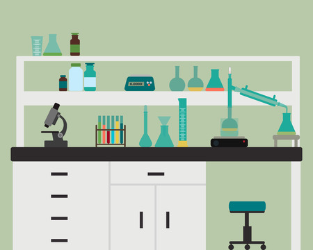 laboratory research: Interior chemical laboratory with equipment illustration Illustration