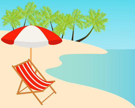 loungers: Beach chairs on the tropical sand beach. Vector illustration