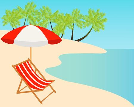 Beach chairs on the tropical sand beach. Vector illustration