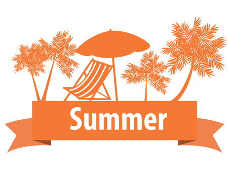 loungers: Summer vacation. Loungers and palm trees on the orange ribbon. Vector illustration Illustration