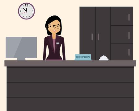 recepcion: Recepcionista mujer feliz que se coloca en el hotel. Ilustraci�n vectorial