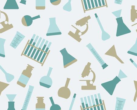 laboratory equipment: Background chemistry. Laboratory equipment. Vector seamless pattern