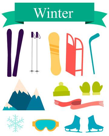 Pictogrammen winter. Sport accessoires en apparatuur. Vector illustratie