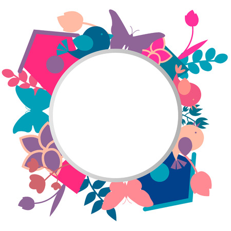 Spring background with place for text. Card with flowers, butterflies and birds. Vector illustration Vector