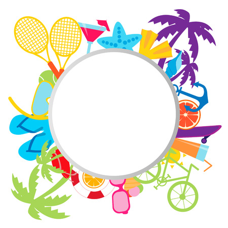 Summer background with place for text. Sports and beach accessories. Vector illustration Vector