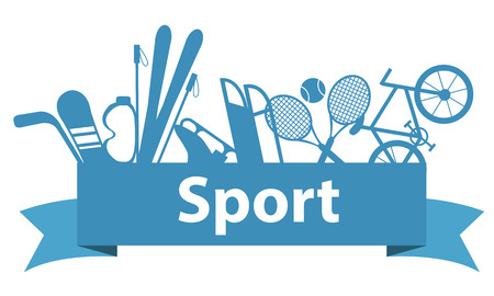 game equipment: Sports and game equipment on a blue ribbon. Vector illustration Illustration