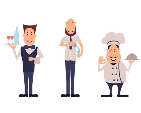 waiter tray: Professions employees cafe. Set bartender, chef and waiter. Vector illustration