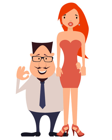 office romance: Couple. Rich businessman and his beautiful wife. Vector illustration