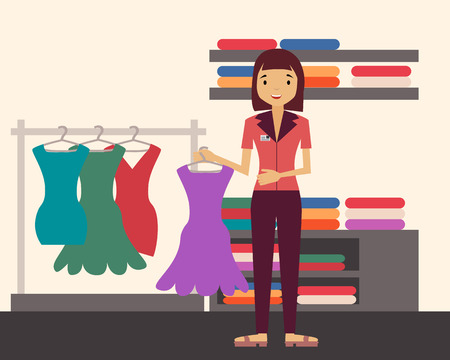 Sales clerk. Girl holding a dress in a clothing store. Vector illustration Stock Illustratie