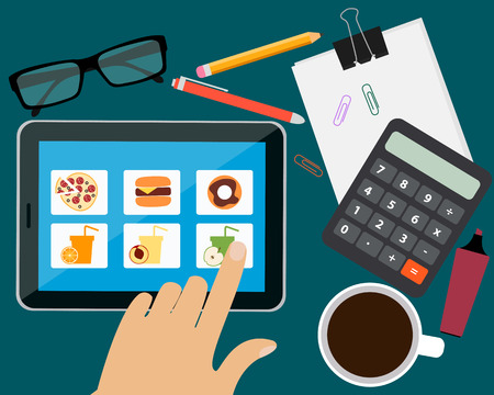 ordering: Man ordering food in the office online. Vector illustration Illustration