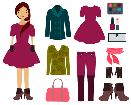 Set of spring clothing Vector