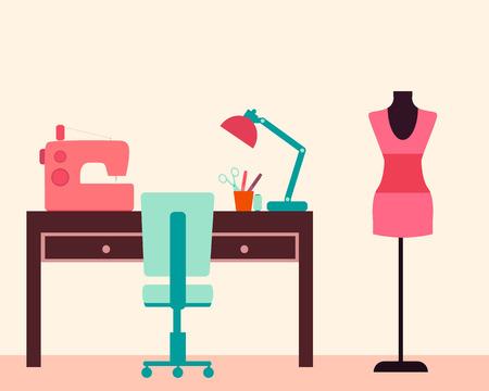 costurera: Costurera lugar de trabajo. Mesa y la m�quina de coser. Ilustraci�n vectorial