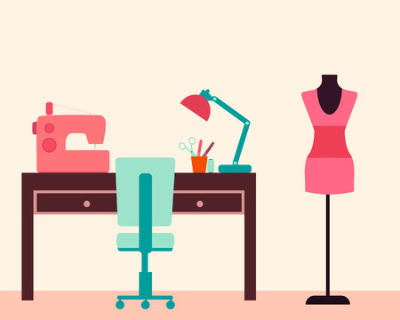 designer chair: Workplace seamstress. Table and sewing machine. Vector illustration