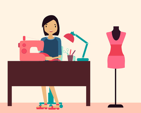 Workplace seamstress. Woman sitting at the table and sewing machine. Vector illustration Illustration