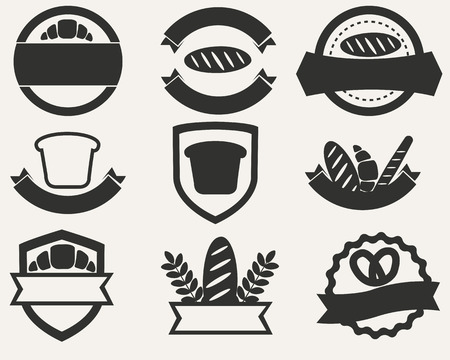 Vintage set of logos of bread and bakery. Vector illustration Vector