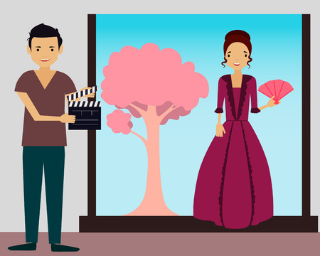 filming: Filming. Young woman in vintage dress ready to shoot a new scene. Vector illustration