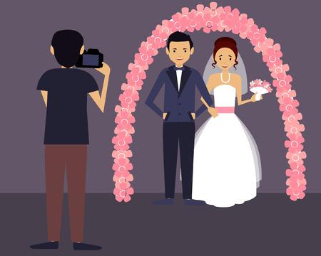 Huwelijksfotograaf. Gelukkige bruidegom en de bruid in witte jurk. Vector illustratie