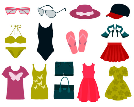 green clothes: Set of summer clothes and accessories. Vector illustration