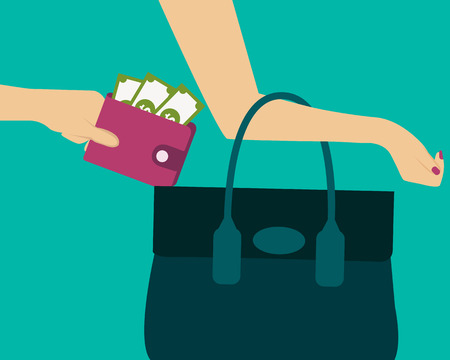 violation: Stealing a purse with money from handbag. Vector illustration