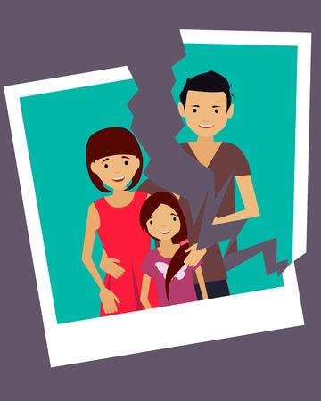 Divorcio. Foto rota de una familia feliz. Ilustración vectorial