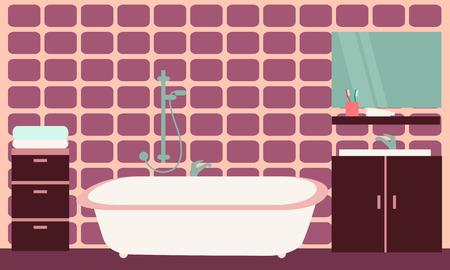 bathroom tiles: Interior of modern bathroom with purple tiles. Vector illustration