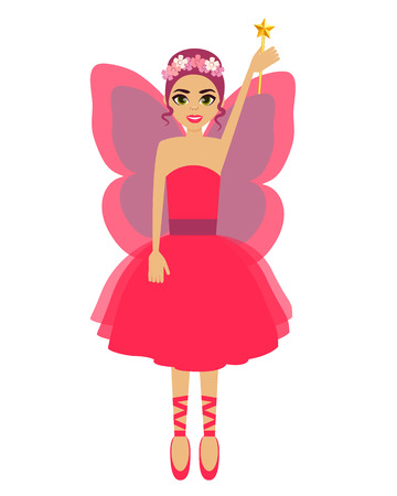 girl magic wand: Fairy. Girl with wings and a magic wand. Vector illustration