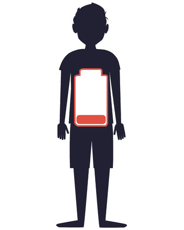 low battery: Low battery. Silhouette of man with battery. Vector illustration