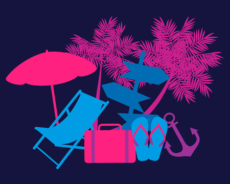deckchair: Weekend concept. Deckchair, palm trees and a suitcase. Vector illustration Illustration