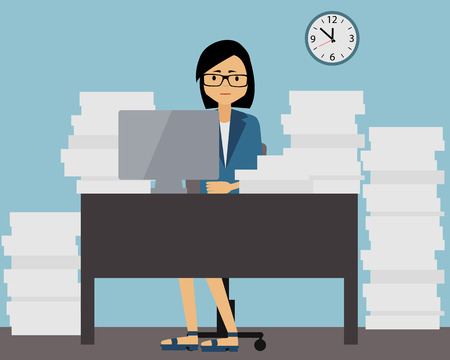 Lot of work. Business woman sitting at the table with the documents. Vector illustration Illusztráció