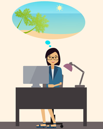 woman dreaming: Young business woman dreaming about her vacation. Vector illustration