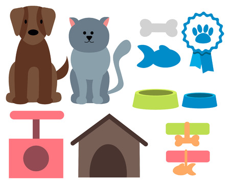 Pet icons. Cat, dog and accessories. Vector illustration Vector