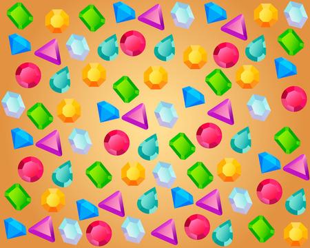 piedras preciosas: Piedras preciosas de colores sobre un fondo de oro. Ilustración vectorial