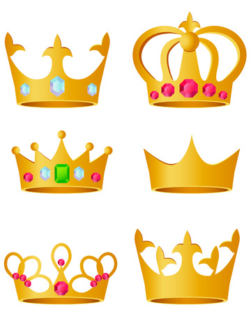 Set golden crown on a white background. Vector illustration Vettoriali