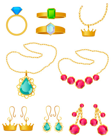 Jewelry set. Rings, pendants and earrings on a white background. Vector illustration Vector