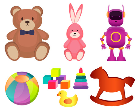 Set of  toys on a white background. Vector illustration Vector