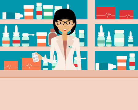 Happy female pharmacist standing in a  drugstore. Vector illustration