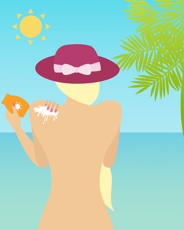 ocean background: Woman with sunscreen over ocean background. Vector illustration