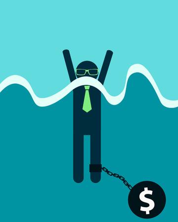 burden: Businessman with debt burden. Man drowns. Vector illustration Illustration