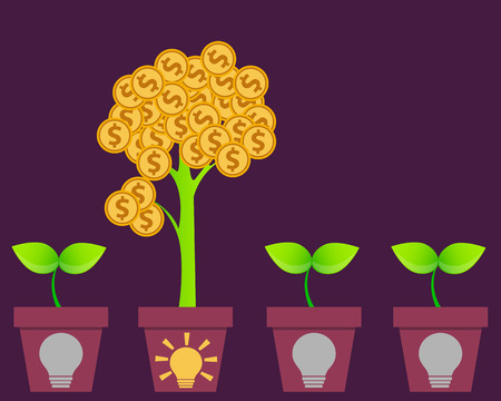 profitable: Profitable business Idea. Tree with money and pot with symbol ideas. Vector illustration Illustration