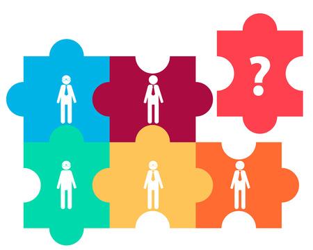 Team Concept. Mensen uit het bedrijfsleven en vraagteken op de puzzel. vector illustratie
