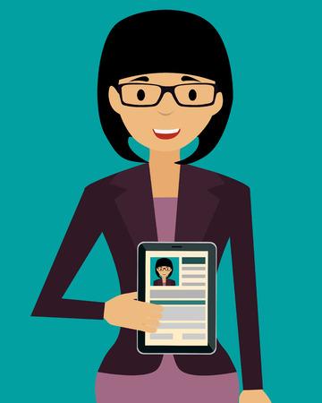 vrouw met tablet: Jonge glimlachende vrouw die tablet met haar CV. Vector illustratie
