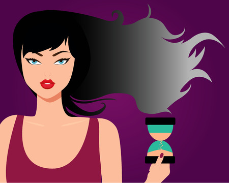 turns: Concept aging. Black hair turns gray. Vector illustration