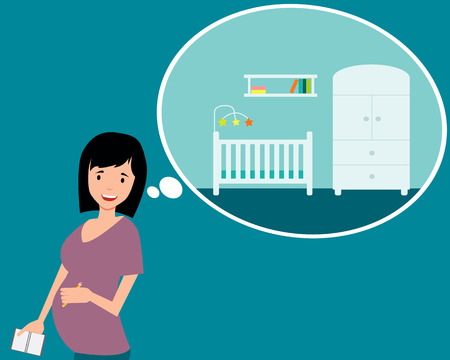 nursery room: Nursery. A pregnant woman planning design a room. Vector illustration