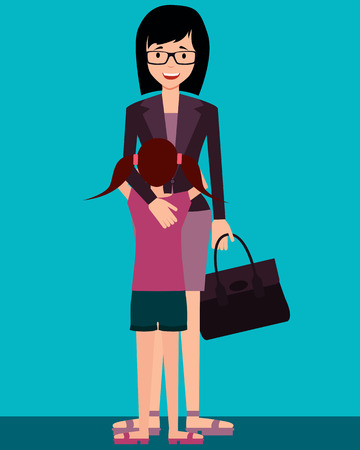 came: Family. Daughter hugging mother who came home after work. Vector illustration