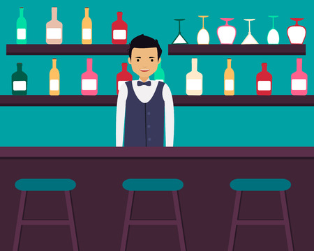 barman: Young barman standing in bar with alcoholic beverages. Vector illustration Illustration