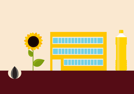 sunflower oil: Production of sunflower oil. Concept agriculture. Vector illustration